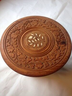 "VINTAGE INDONESIA WOOD HAND CARVED TEAK SIDE TABLE WITH INLAY 10""x 9"" inch"