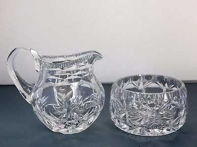 "Brierley Hill Crystal ""cross & Hollow"" Pattern Cream Jug & Sugar Bowl Set"