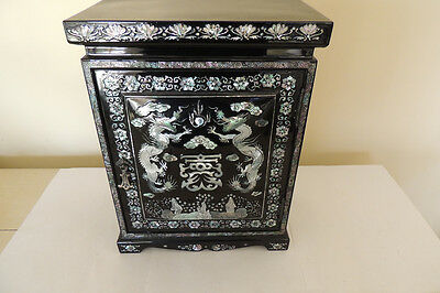 Chinese Abalone Mother of Pearl Black Laquer Jewelry Box