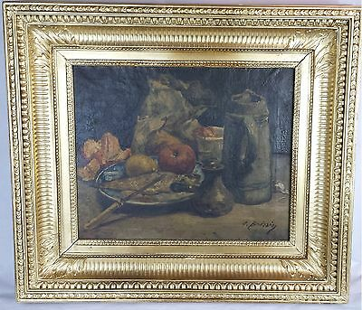 Antique Oil on Canvas Large Painting of Still Life Signed c.1800 French