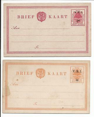 SOUTH AFRICA ORANGE FREE STATE 1900,s 2 x V.R.I. OVERPRINTED POSTCARD UNUSED