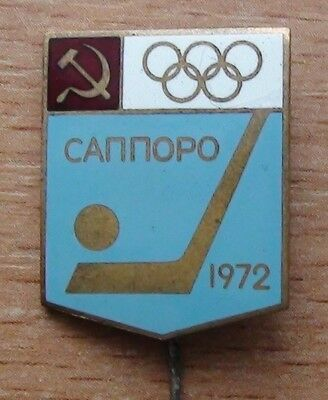 HOCKEY. USSR team at the Olympic games 1972, Sapporo, Japan, brass, enamel