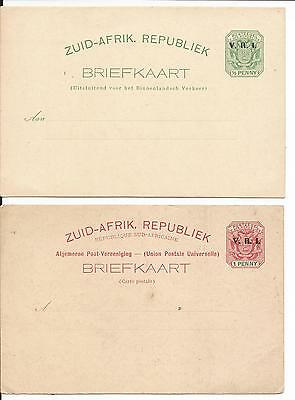 SOUTH AFRICA 1900,s 2 x V.R.I. OVERPRINTED POSTCARD UNUSED