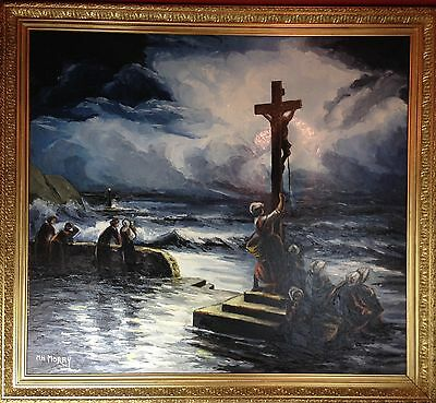 Antique Oil on Canvas Huge Painting of Jesus' Crucifixion c.1900 Signed