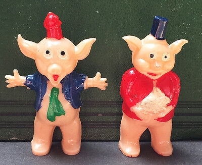 Vintage 1950s Toy Pigs - 2 of them..holding a Rabbit... well Why Not ?