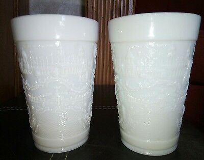 Lot of 2 1904 St Louis World's Fair Milk Glass Drinking Cups #3 & #4 Tumblers 5""