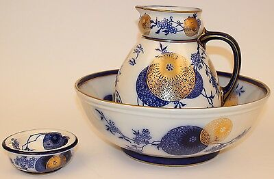Rare Large Royal Doulton Flow Blue Persian Spray Wash Basin & Pitcher