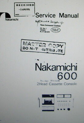 Nakamichi 600 2 Head St Cassette Console Service Manual Inc Schems Bound English