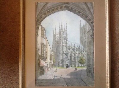 original watercolour painting S. J. Toby Nash Canterbury Cathedral Signed
