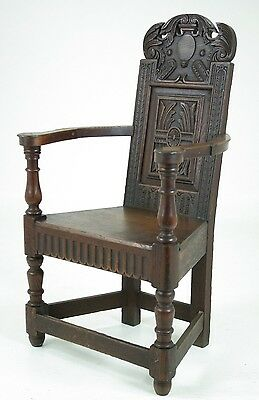 B541 Early 19th Century Scottish Carved Oak Hall Chair, Solid Seat