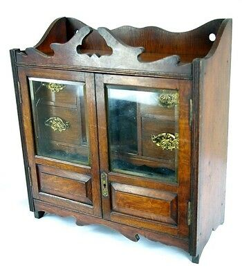 B586 Antique Scottish Victorian Oak Smoker, Wall Cabinet, Fitted Interior