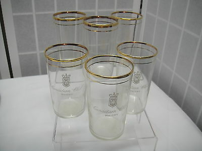 Vintage Canadian Club Whisky Glasses, set of 6 w/ double Gold rim