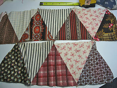 Antique Victorian 1890 Fabric Quilt Squares Strip, New Old Stock