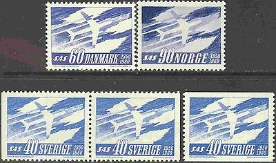 10th Anniversary Scandinavian Air Services 3 Country MNH Omnibus Set