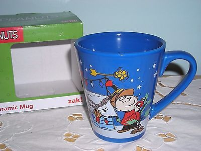 Snoopy ~ A Charlie Brown Christmas ~ Blue Ceramic Coffee Mug Cup ~ New In Box