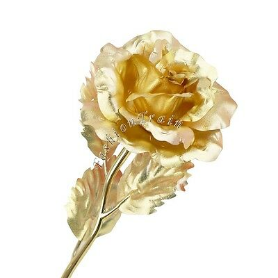 24K Gold Long Stem Rose Flower Glass Dipped Trim Anniversary Love Birthday Gifts
