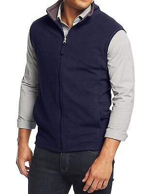 Club Room Men's Navy Full Zip Fleece Sweater Vest, size Large