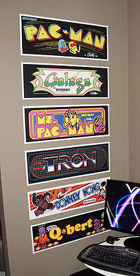 Classic Arcade Marquees - Wall Art - 6 Pack (Set A)