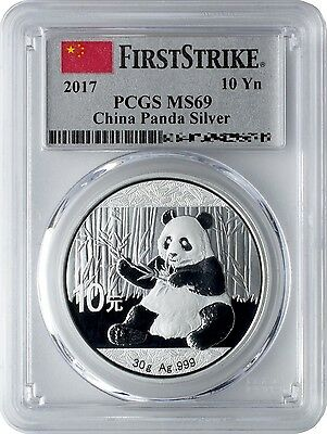 2017 China 30 Gram Silver Panda Coin | PCGS MS69 | First Strike