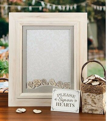 WEDDING GUEST BOOK FRAME DROP BOX WISHES ENGAGEMENT ANNIVERSARY signing hearts