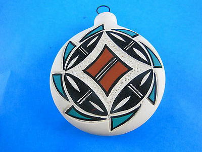 "Hand Painted and carved etched 3""  Artist Initialed Acoma Pottery Ornament"