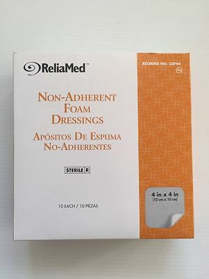 Medical Supplies Wound Care - ReliaMed 4x4 Non Adherent Foam Dressing Box of 10