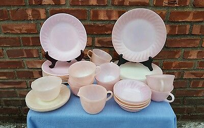 Vintage 30 Piece set of Fire King Pink Dinnerware