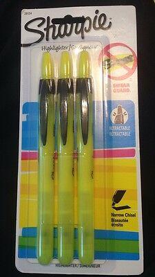 Sharpie Accent Retractable Highlighters, Chisel, Fluorescent Yellow, Pack of 3