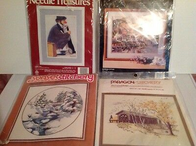 Lot Of 4 Vintage Needle Point Kits Clown Dog Cottage Winter Covered Bridge