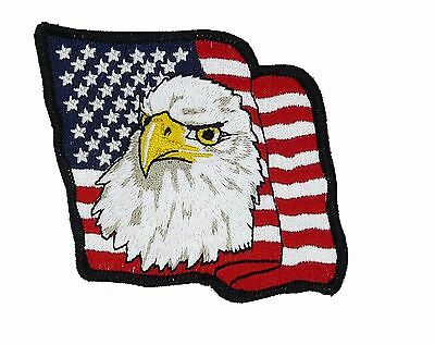 BALD EAGLE AMERICAN FLAG iron-on EMBROIDERED PATCH USA PATRIOTIC applique