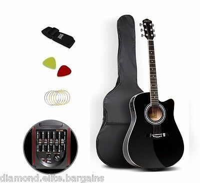 Acoustic Electric Guitar 5 Band Wth Steel Strings amplifier amp compatible Learn