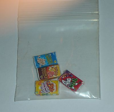 4 Dollhouse Miniatures Cereal Boxes Breakfast Food. Scale 1:24 . 1/2 in / 12mm