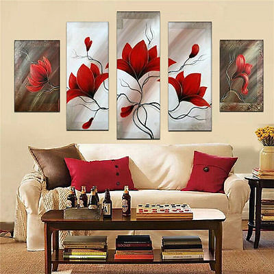 Hand painted 5 pcs/set oil painting on canvas wall art home decor red flowers