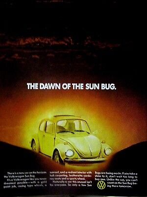 "1974 Volkswagen Sun Bug Original Print Ad--8.5 x 10.5""The Dawn Of The Sun Bug"