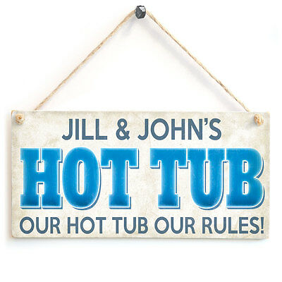Hot Tub Personalised Wooden Sign Our Hot Tub Our Rules Gift