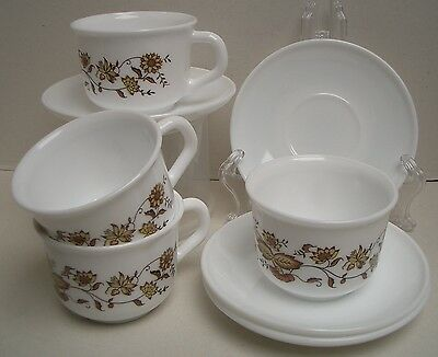 "Gorgeous Arcopal France Cup, Cup and Saucer Set for 4 ""Brown Onion"" Pattern, EUC"
