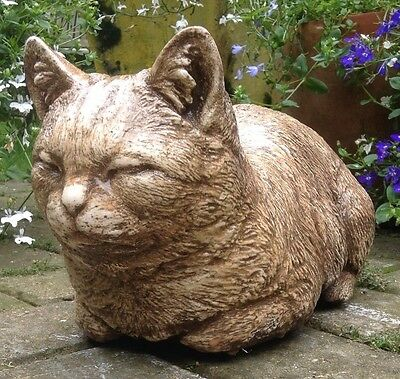 Large Stone Cat Kitten Garden Home Lawn Patio Ornament Statue Sculpture Lifesize