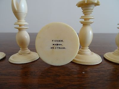 Antique Chess Set Stamped Fisher Maker 188 Strand
