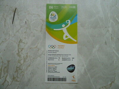 Used Ticket Olympic Games 2016 Olympia F01 Handball W Norway Brazil NED France