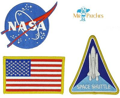 Nasa Blue Logo USA Flag Nasa Space Shuttle Set of 3 Easy Iron/Sew On Patch