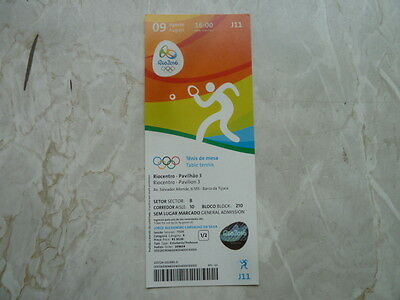 Used Ticket Olympic Games 2016 Olympia J11 Table Tennis Tischtennis 09.08.2016