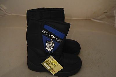 Boys Childrens Winter Snow Fashion Black Boots New Size 2 (Eu34)