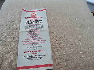liverpool 1980 1st division champions leaflet with picture of the team Signed.