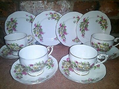 Vintage Queen Anne China Tea Set Pink White Floral Chintz