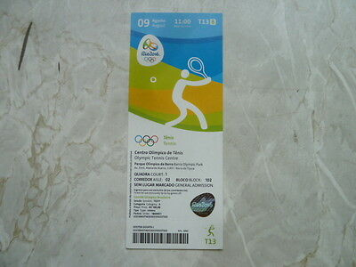 Used Ticket Olympic Games 2016 Olympia T13 Tennis 09.08.2016