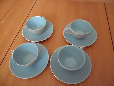Poole Pottery 4 Blue/Grey Cups and Saucers