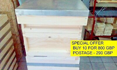 National Bee Hive 1 Brood Box 2 Honey Supers Pine Wood Flat Packed