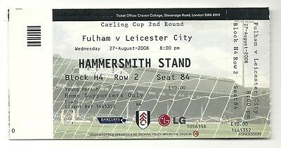 FULHAM v LEICESTER CITY  27.08.08 CARLING CUP USED TICKET STUB