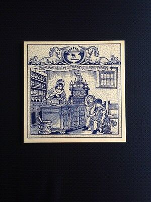 Pharmacy Tile 1992  Burroughs Wellcome Delfts Handmade 6""