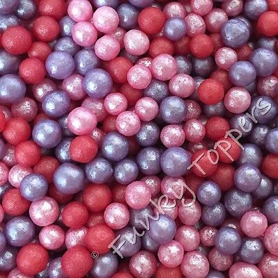 60g Edible Sugar Pearls Pink Lilac Red Cupcake Cake Sprinkles Topper 4mm Glitter
